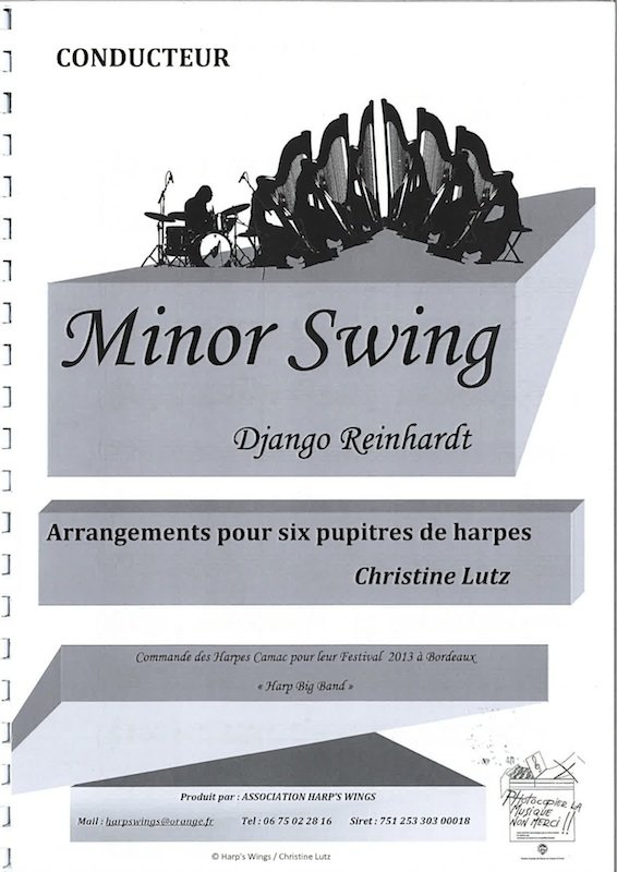 REINHARDT Django : Minor Swing - an arrangement for 6 harps (4 pedal and 6  lever) by Christine Lutz