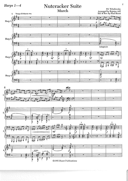 Tchaikovsky Piotr Illitch The Nutcracker For Harp 4tet