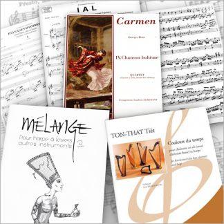 Harfe mit verschiedenen Instrumenten