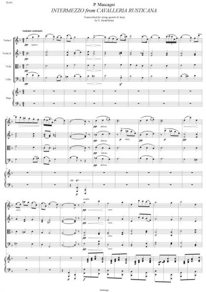 MASCAGNI Pietro: Intermezzo, transcription by Nandor Szederkenyi for string quartet and harp (score and parts)