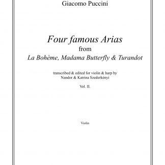 PUCCINI Giacomo : 4 Famous Arias vol. 1, transcription de Nandor Szederkenyi pour violon et harpe