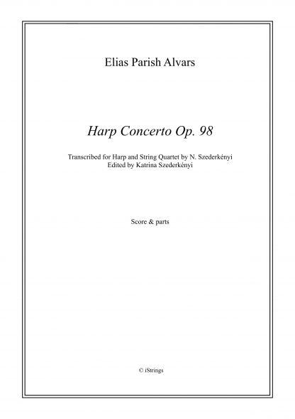 PARISH ALVARS Elias : Concerto pour harpe op. 98 (conducteur, partitions seules), transcription de Nandor Szederkenyi pour quatuor à cordes et harpe