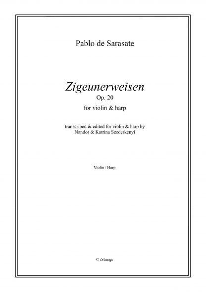 DE SARASATE Pablo : Zigeunerweisen op. 20, transcription de Nandor et Katrina Szederkenyi pour violon et harpe