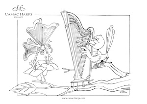 Harp colouring picture, downloadable